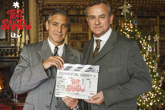 "ITV Plc..From ITV Studios....Text Santa: Downton Abbey on ITV.....Pictured: George Clooney and Hugh Bonneville.....This photograph is (C) ITV Plc and can only be reproduced for editorial purposes directly in connection with the programme or event mentioned above, or ITV plc. Once made available by ITV plc Picture Desk, this photograph can be reproduced once only up until the transmission [TX] date and no reproduction fee will be charged. Any subsequent usage may incur a fee. This photograph must not be manipulated [excluding basic cropping] in a manner which alters the visual appearance of the person photographed deemed detrimental or inappropriate by ITV plc Picture Desk.  This photograph must not be syndicated to any other company, publication or website, or permanently archived, without the express written permission of ITV Plc Picture Desk. Full Terms and conditions are available on the website www.itvpictures.com....For further information please contact:..james.hilder@itv.com / 0207 157 3052  mail_sender ""Hilder, James"" <james.hilder@itv.com>  mail_subject Text Santa 2014 - George Clooney - Downton Abbey - ITV - Strictly  Embargoed until Midday 01/12/14  mail_date Mon, 1 Dec 2014 11:58:54 +0000  mail_body **These images are strictly embargoed until Midday Monday 1st December 2014**  More Text Santa images are available on www.itvpictures.com.  Regards,  James  --  *James Hilder 