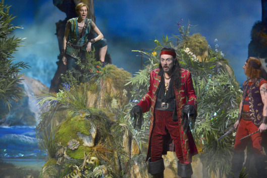 PETER PAN LIVE! -- Dress Rehearsal -- Pictured: (l-r) Allison Williams as Peter Pan, Christopher Walken as Captain Hook -- (Photo by: Virginia Sherwood/NBC)