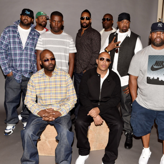 (L-R, standing) Rappers Ghostface Killah, Method Man, GZA, RZA, Inspectah Deck, Cappadonna, Raekwon, (L-R, seated), Masta Killa and U-God of the Wu-Tang Clan pose at a press conference to announce they have signed with Warner Bros. Records at Warner Bros. Records on October 2, 2014 in Burbank, California.  (Photo by Kevin Winter/Getty Images)