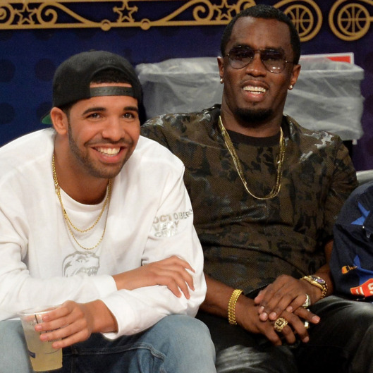Musicians Drake (L) and Sean Combs attend the State Farm All-Star Saturday Night during the NBA All-Star Weekend 2014 at The Smoothie King Center on February 15, 2014 in New Orleans, Louisiana.