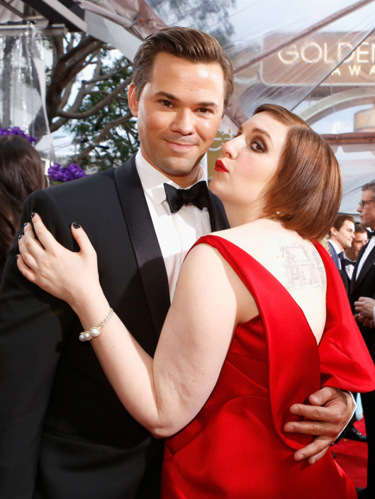 LOS ANGELES, CA - JANUARY 11: 72nd ANNUAL GOLDEN GLOBE AWARDS -- Pictured: (l-r) Actors Andrew Rannells and Lena Dunham arrive to the 72nd Annual Golden Globe Awards held at the Beverly Hilton Hotel on January 11, 2015. (Photo by: Trae Patton/NBC/NBCU Photo Bank)