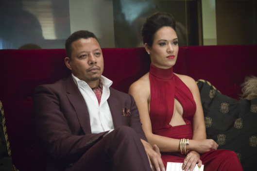 "EMPIRE: Lucious (Terrence Howard, L) and Anika (Grace Gealey, R) watch Hakeem and Jamal perform in the ""Outspoken King"" episode of EMPIRE airing Monday, Jan. 14 (9:00-10:00 PM ET/PT) on FOX. ?2014 Fox Broadcasting Co. CR: Chuck Hodes/FOX"