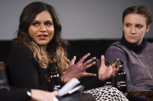 "Mindy Kaling and Lena Dunham attend the ""Power Of Stories: Serious Ladies"" panel during the 2015 Sundance Film Festival on Saturday, Jan. 24, 2015, in Park City, Utah. (Photo by Arthur Mola/Invision/AP)"