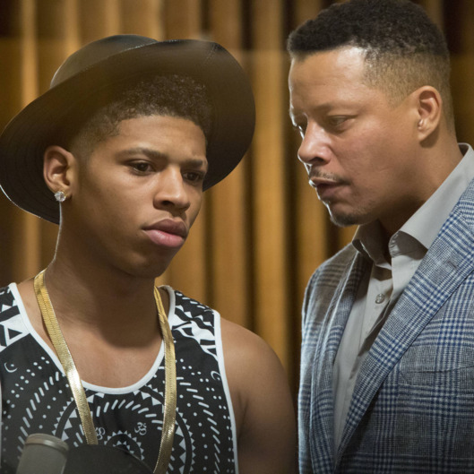 "EMPIRE: Lucious (Terrence Howard, R) talks to Hakeem (Bryshere Gray, L) in the ""False Imposition"" episode of EMPIRE airing Wednesday, Jan. 28 (9:00-10:00 PM ET/PT) on FOX. ?2014 Fox Broadcasting Co. CR: Chuck Hodes/FOX"
