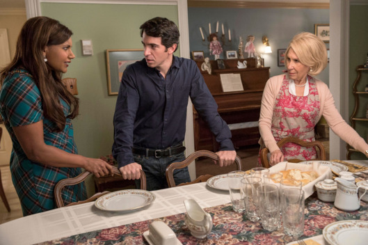 "THE MINDY PROJECT:  L-R:  Mindy (Mindy Kaling), Danny (Chris Messina) and Annette (guest star Rhea Pearlman) prepare for a family dinner in the ""Dinner At The Castellanos"" episode of THE MINDY PROJECT airing Tuesday, Feb. 10 (9:30-10:00 PM ET/PT) on FOX.  ?2015 Erica Parise/FOX"