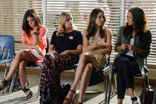 "PRETTY LITTLE LIARS - ""Out, Damned Spot"" - College pressures mount while the Liars try to keep tabs on Mike in ""Out, Damned Spot,"" an all-new episode of ABC Family's hit original series ""Pretty Little Liars,"" premiering Tuesday, February 10th (8:00 - 9:00 PM ET/PT). (ABC Family/Eric McCandless) LUCY HALE, ASHLEY BENSON, TROIAN BELLISARIO, SHAY MITCHELL"