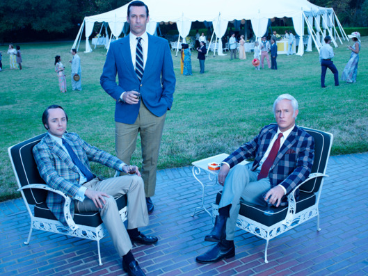 Vincent Kartheiser as Pete Campbell, Jon Hamm as Don Draper and John Slattery as Roger Sterling - Mad Men _ Season 7B, Gallery _ Photo Credit: Frank Ockenfels 3/AMC