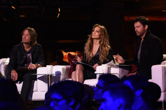 AMERICAN IDOL XIV: L-R: Judges, Keith Urban, Jennifer Lopez and Harry Connick, Jr, at House of Blues for the IDOL SHOWCASE airing Wednesday, Feb. 18 (8:00-9:01 PM ET/PT) and Thursday, Feb. 19 (8:00-9:00 PM ET/PT). CR: Michael Becker / FOX.  ? 2015 FOX Broadcasting.