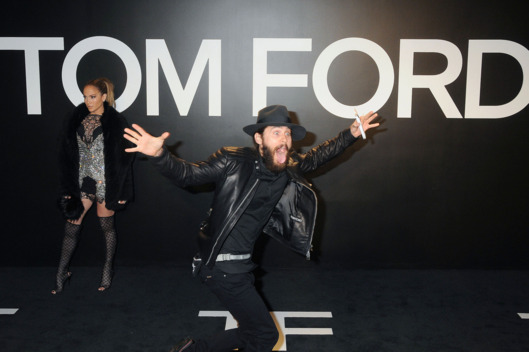 20 February 2015 - Hollywood, California - Jennifer Lopez being photobombed by Oscar Winner Jared Leto. Tom Ford 2015 Autumn/Winter Womenswear Collection Show held at Milk Studios. Photo Credit: Byron Purvis/AdMedia