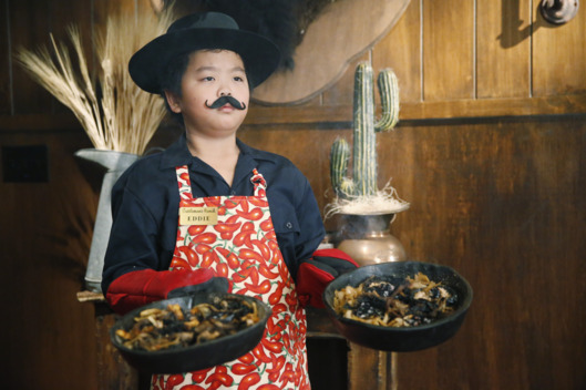 "FRESH OFF THE BOAT - ""Fajita Man"" - Eddie is so desperate for a new video game named after his idol, Shaq, he goes to work at the restaurant. He expects special treatment since he's the boss's son, but is in for a surprise when Louis is determined to make him work hard for the money. Meanwhile, Jessica decides to look for a job of her own, on ""Fresh Off the Boat,"" TUESDAY, FEBRUARY 24 (8:00-8:30 p.m. ET) on the ABC Television Network. (ABC/Jordin Althaus)HUDSON YANG"