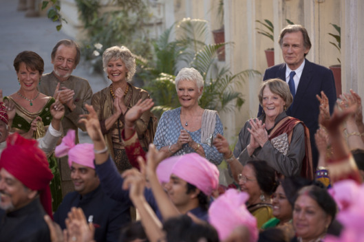 "L - R: Celia Imrie as ""Madge Hardcastle,"" Ronald Pickup as ""Norman Cousins,"" Diana Hardcastle as ""Carol,"" Judi Dench as ""Evelyn Greenslade,"" Maggie Smith as ""Muriel Donnely"" and Bill Nighy as ""Douglas Ainslie"" in THE BEST EXOTIC MARIGOLD HOTEL 2."