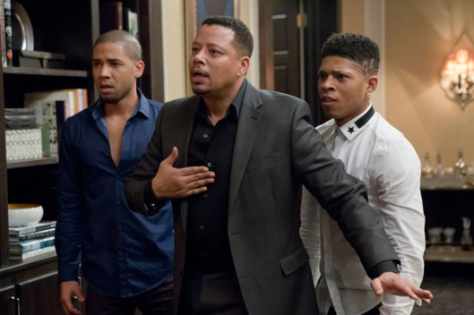 "EMPIRE: Jamal (Jussie Smollet, L) and Hakeem (Bryshere Gray, R) listen to Lucious (Terrence Howard, C) make a confession in the ""Sins of the Father"" episode of EMPIRE airing Wednesday, March 11 (9:01-10:00 PM ET/PT) on FOX. ?2015 Fox Broadcasting Co. CR: FOX Chuck Hodes/FOX"