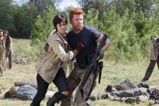 Dahlia Legault as Francine and Michael Cudlitz as Abraham - The Walking Dead _ Season 5, Episode 14 - Photo Credit: Gene Page/AMC