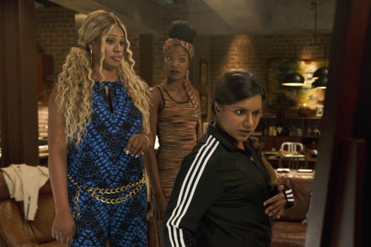 "THE MINDY PROJECT:  Tamra's (Xosha Roquemore, C) cousin Sheena (guest star Laverne Cox, L), coaches Mindy (Mindy Kaling, R) on her new look in the ""What to Expect When You're Expanding"" episode of THE MINDY PROJECT airing Tuesday, March 17 (9:30-10:00 PM ET/PT) on FOX. ?2015 Jennifer Clasen/FOX"