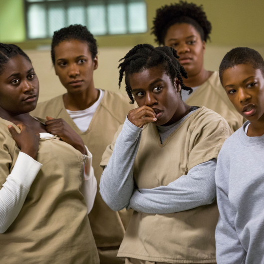"(L-R) Danielle Brooks, Vicky Jeudy, Uzo Aduba, Adrienne C. Moore, and Samira Wiley in a scene from Netflix's ""Orange is the New Black"" Season 2. Photo credit: Jessica Miglio for Netflix."