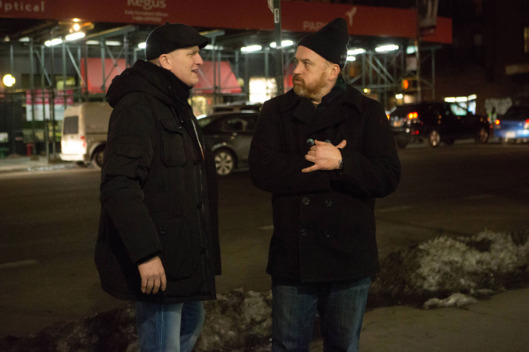 "LOUIE: Season 5, Episode 3 ""Cop Story"" (Airs Thursday, April 23, 10:30 pm e/p). Pictured: (l-r) Michael Rapaport as Lenny, Louis C.K. as Louie. CR: KC Bailey/FX"