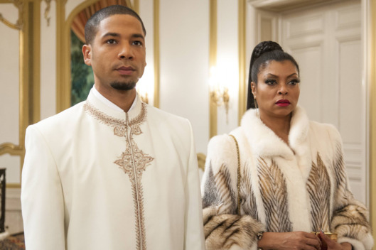 "EMPIRE: Jamal (Jussie Smollett, L) and Cookie (Taraji P. Henson, R) attend the all white party in the ""The Lyon's Roar"" episode of EMPIRE airing Wednesday, Feb. 25 (9:01-10:00 PM ET/PT) on FOX. ©2015 Fox Broadcasting Co CR: Matt Dinnerstein/FOX"