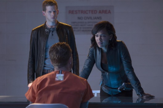 "MINORITY REPORT: L-R: Stark Sands, Jesse Luken and Jesse Luken in the all-new ""The Present"" episode of MINORITY REPORT airing Monday, Oct. 19 (9:00-10:00 PM ET/PT) on FOX.  © 2015 FOX Broadcasting Co. Cr: Katie Yu / FOX."