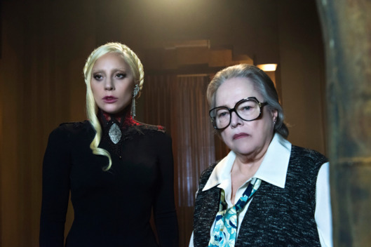 "AMERICAN HORROR STORY -- ""Flicker"" Pictured: (l-r) Lady Gaga as The Countess, Kathy Bates as Iris."