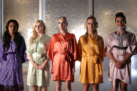 "SCREAM QUEENS: L-R: Keke Palmer, Abigail Breslin, Emma Roberts, Billie Lourd and Lea Michele in the ""Black Friday"" episode of SCREAM QUEENS airing Tuesday, Dec. 1 (9:00-10:00 PM ET/PT) on FOX. ©2015 Fox Broadcasting Co. Cr: Patti Perret/FOX."