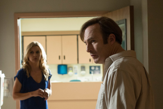 Rhea Seehorn as Kim and Bob Odenkirk as Saul Goodman - Better Call Saul _ Season 1, Episode 5 - Photo Credit: Ursula Coyote/AMC