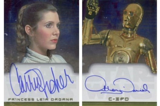 Topps Star Wars Evolution autograph cards from Carrie Fisher and Anthony Daniels