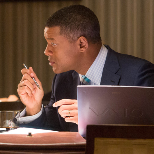 "Alec Baldwin , left, and Will Smith star in Columbia Pictures' ""Concussion."""
