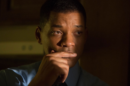 "This image released by Columbia Pictures shows Will Smith in a scene from, ""Concussion."" Smith was nominated for a Golden Globe award for best actor in a motion picture drama for his role in the film on Thursday, Dec. 10, 2015. The 73rd Annual Golden Globes will be held on Jan. 10, 2016. (Melinda Sue Gordon/Columbia Pictures via AP)"