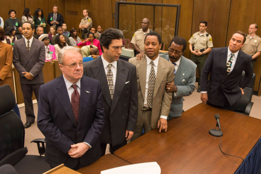 "THE PEOPLE v. O.J. SIMPSON: AMERICAN CRIME STORY ""The ""Verdict"" Episode 110 (Airs Tuesday, April 5, 10:00 pm/ep) -- Pictured: (l-r) Nathan Lane as F. Lee Bailey, David Schwimmer as Robert Kardashian, Cuba Gooding, Jr. as O.J. Simpson, Courtney B. Vance as Johnnie Cochran, John Travolta as Robert Shapiro. CR: Prashant Gupta/FX"