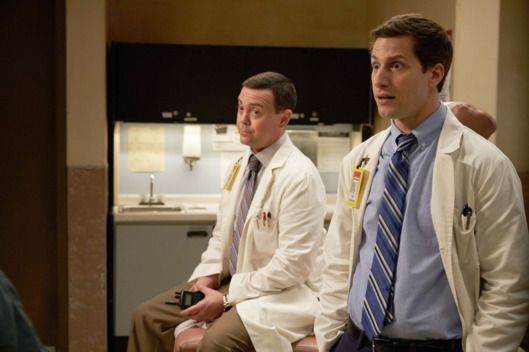 "BROOKLYN NINE-NINE: L-R: Joe Lo Truglio and Andy Samberg in the ""Maximum Security"" episode of BROOKLYN NINE-NINE airing at a special time Tuesday, April 5 (9:30-10:00 PM ET/PT) on FOX. ©2016 Fox Broadcasting Co. CR: John P. Fleenor/FOX"