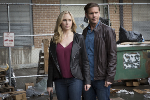 "The Vampire Diaries -- ""Kill \'Em All"" -- Image Number: VD720b_0051.jpg -- Pictured (L-R): Candice King as Caroline and Matt Davis as Alaric -- Photo: Bob Mahoney/The CW -- © 2016 The CW Network, LLC. All rights reserved."