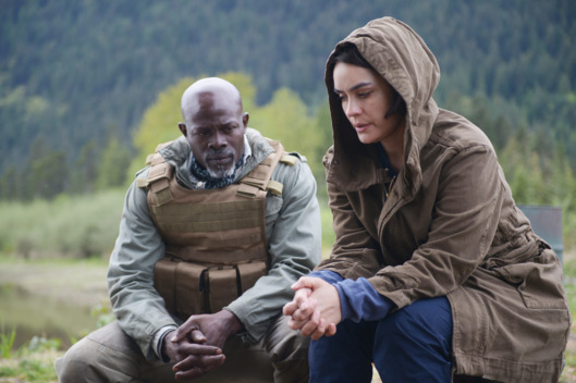 "WAYWARD PINES:  L-R:  Djimon Hounsou and guest star Shannyn Sossamon in the ""Sound the Alarm"" episode of WAYWARD PINES airing Wednesday, June 22 (9:00-10:00 PM ET/PT) on FOX.  ©2016 Fox Broadcasting Co.  Cr:  Sergei Bachlakov/FOX"