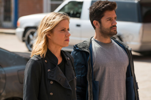Kim Dickens as Madison Clark, Andres Londono as Oscar Diaz- Fear the Walking Dead _ Season 2, Episode 12 - Photo Credit: Richard Foreman/AMC
