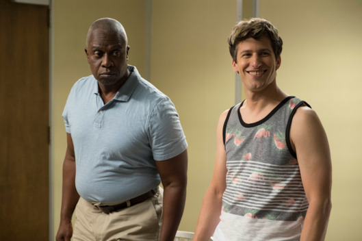 "BROOKLYN NINE-NINE: L-R: Andre Braugher and Andy Samberg in the ""Coral Palms Pt. 2"" episode of BROOKLYN NINE-NINE airing Tuesday, Sept. 27 (8:00-8:31 PM ET/PT) on FOX. ©2016 Fox Broadcasting Co. CR: John P Fleenor/FOX"