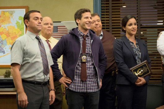 "BROOKLYN NINE-NINE: L-R: Joe Lo Truglio, Dirk Blocker, Andy Samberg, Joel McKinnon Miller and Melissa Fumero in the ""Halloween IV"" episode of BROOKLYN NINE-NINE airing Tuesday, Oct. 18 (8:00-8:31 PM ET/PT) on FOX. CR: John P Fleenor/FOX"