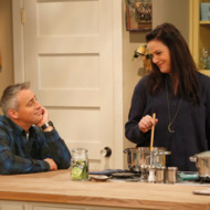 """""""Buzzer Beater"""" -- Adam and Andi toy with having another baby when Don and Marcy\'s newborn grandson comes for a visit, on the first season finale of MAN WITH A PLAN, Monday, May 15 (8:30-9:00 PM, ET/PT) on the CBS Television Network (L-R)  Matt LeBlanc as Adam Burns and , Liza Snyder as Andi Burns    Photo: Monty Brinton/CBS ©2017 CBS Broadcasting, Inc. All Rights Reserved"""