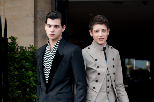Harry and Peter Brant, Stephanie Seymours sons at Paris Fashion Week Autumn/Winter 2012 haute couture shows on July 02, 2012 in Paris, FRANCE.
