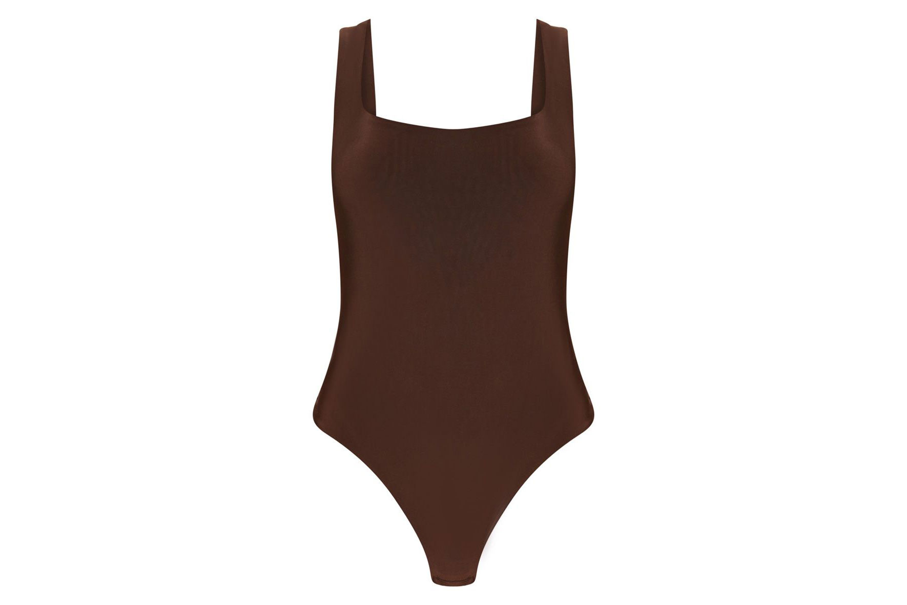 Chocolate Second Skin Scoop Neck Thong Bodysuit