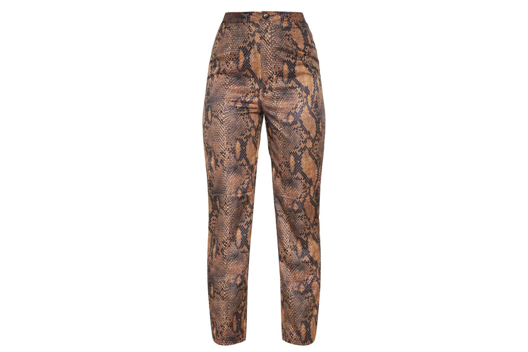 Brown Snake Print Straight Leg Trouser