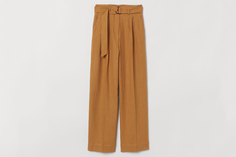 Linen-blend Paper-bag Pants