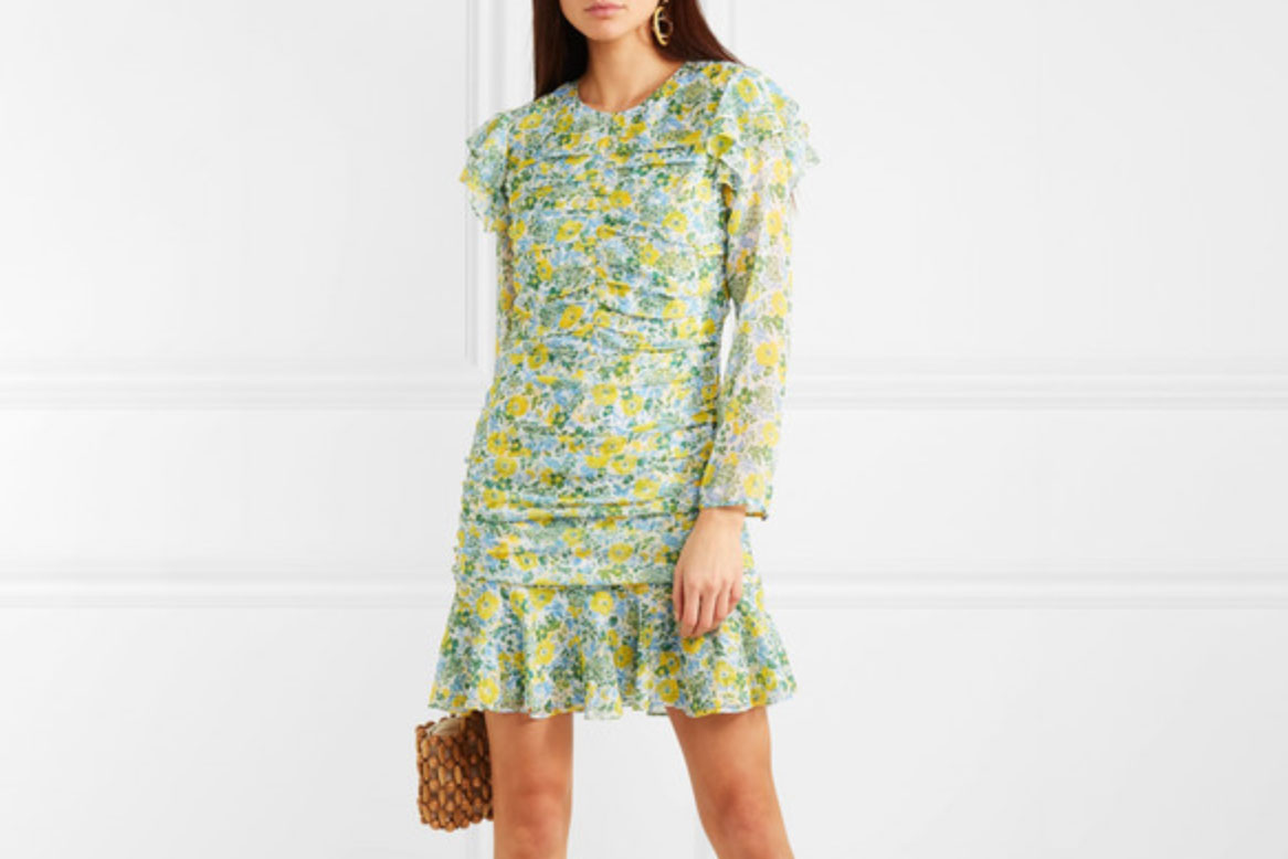 Veronica Beard Ruched Floral Mini Dress