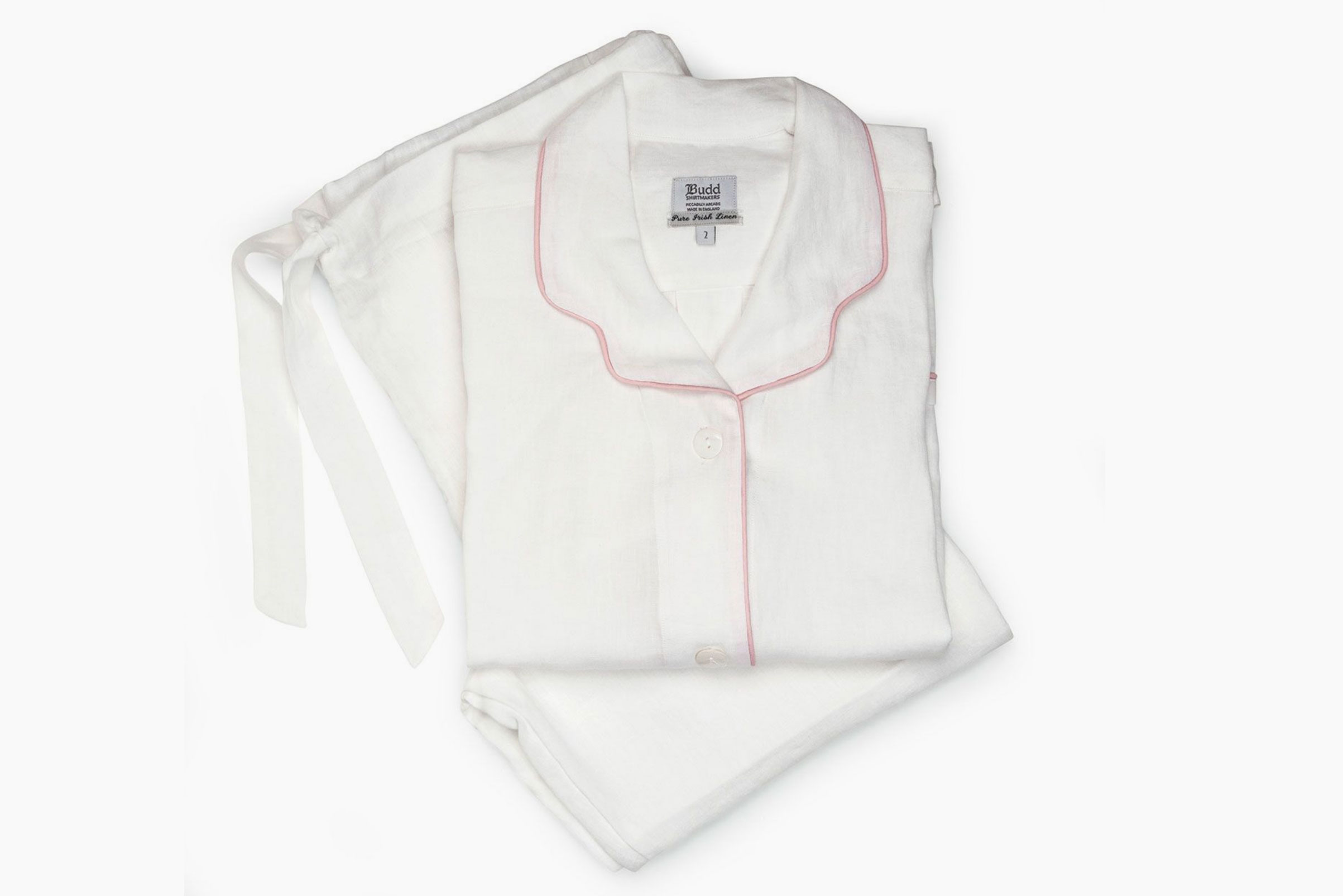 Budd London Plain Linen Pajamas, White and Pink