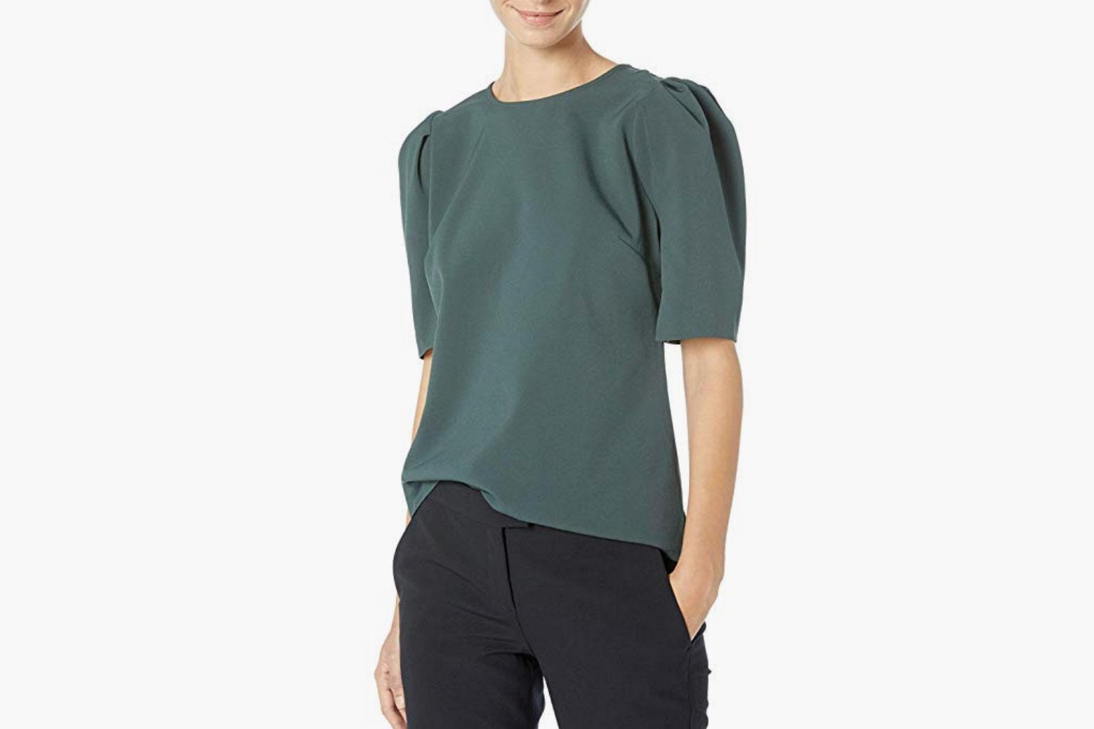 Lark & Ro Women's Stretch Woven Half Sleeve Crew Neck Shirt