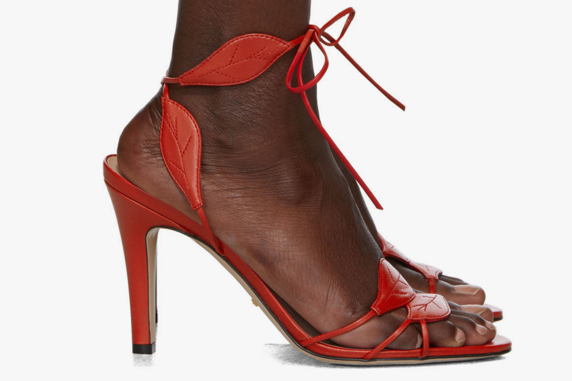 Gucci Red Gianta Leave Heeled Sandals