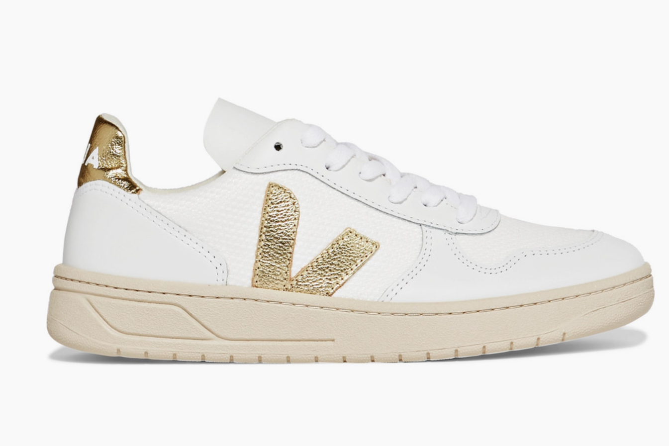 Veja metallic-trimmed leather and mesh sneakers