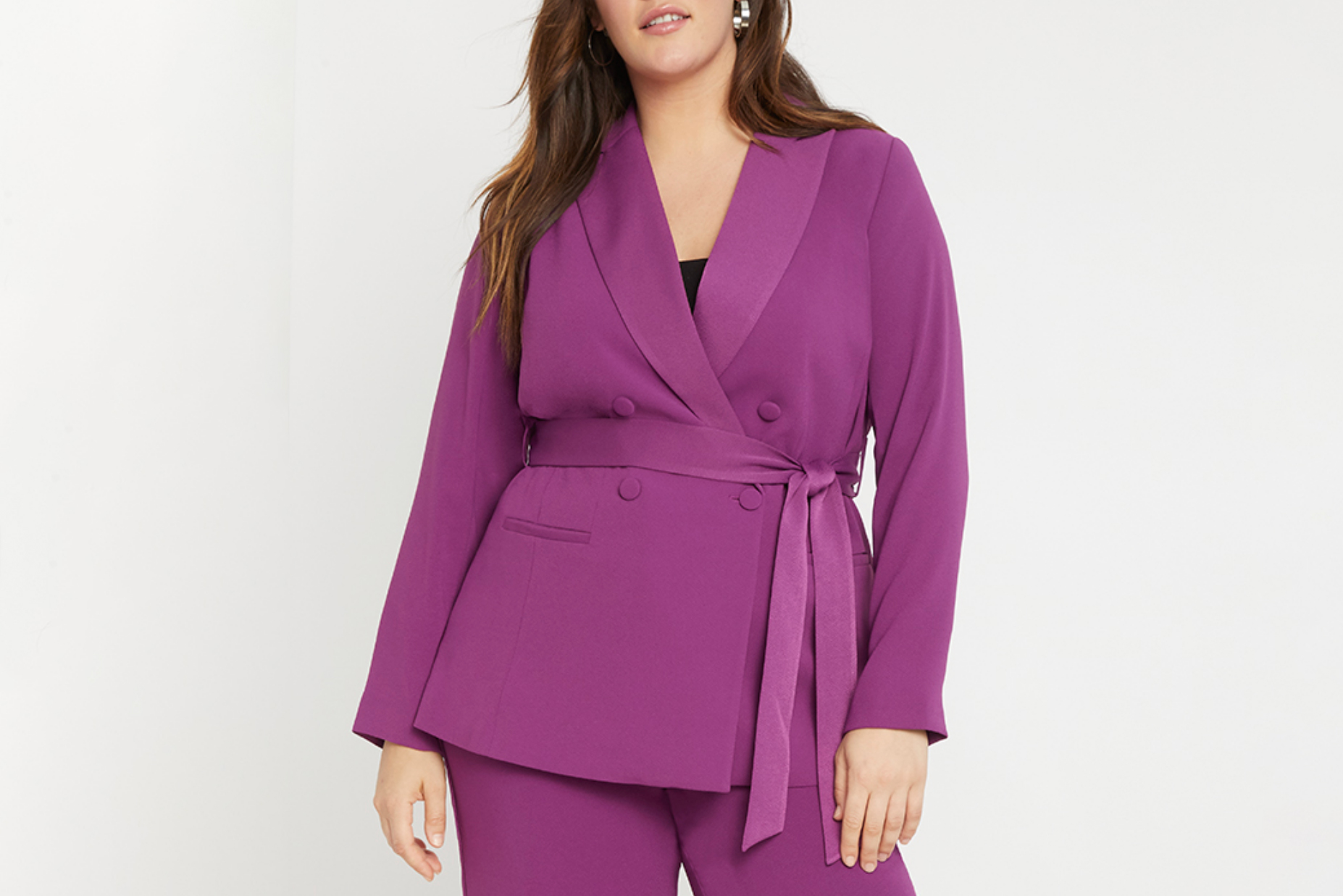 Eloquii Double Breasted Blazer with Tie