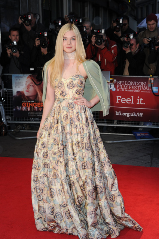 LONDON, UNITED KINGDOM - OCTOBER 13: Elle Fanning attends the premiere of 'Ginger And Rosa' during the 56th BFI London Film Festival at Odeon West End on October 13, 2012 in London, England. (Photo by Eamonn McCormack/Getty Images)