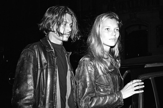 "NEW YORK - 1994:  British supermodel Kate Moss (R) and American actor Johnny Depp leaving  a party for John Waters' film ""Serial Mom""  in 1994 in New York City, New York.  (Photo by Catherine McGann/Getty Images)"