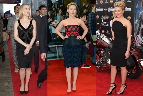 <b>Movie(s):</b> <i>The Avengers</i>  <b>Context: </b>Scarlett floundered a little before <i>Iron Man 2</i>, then had a long fallow period before reprising Black Widow in <i>The Avengers</i>, so she needed this press tour to remind us she still exists.  <b>Highlight(s):</b> … well, the architectural black Versace is decent on her?  <b>Lowlight(s):</b> … but everything else is boring, unflattering, or boring <i>and</i> unflattering.  <b>Attitude:</b> Considering that Scarlett is ostensibly the female lead in <i>The Avengers</i>, and <i>The Avengers</i> had a huge press push, you'd think she would have actually done, you know, some press for it.  <b>Overall grade: F</b>. Real talk, girl: Your last critically or financially successful movie that didn't involve a catsuit was <i>Vicky Christina Barcelona</i> in 2008, and no one remembers you were in it. You have <i>got </i>to turn up the volume next time or everyone is going to start to suspect you're wasting all your energy Googling paparazzi pics of Ryan Reynolds's and Blake Lively's Connecticut house.