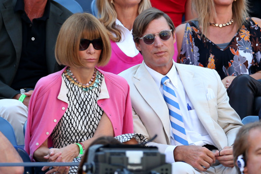 NEW YORK, NY - SEPTEMBER 09:  Editor-in-chief of American Vogue Anna Wintour and Shelby Bryan watch the men's singles semifinal match between Novak Djokovic of Serbia and David Ferrer of Spain on Day Fourteen of the 2012 US Open at USTA Billie Jean King National Tennis Center on September 9, 2012 in the Flushing neighborhood of the Queens borough of New York City.  (Photo by Matthew Stockman/Getty Images)